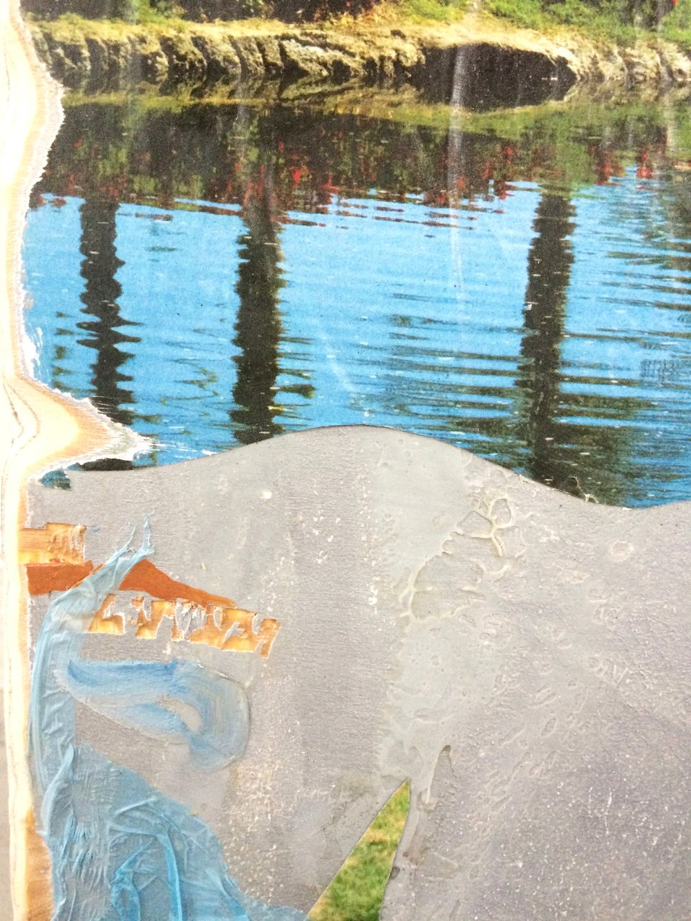Island (detail),  2015, acrylic, oil, golf course calendars, photographs, plastic on sanded wood