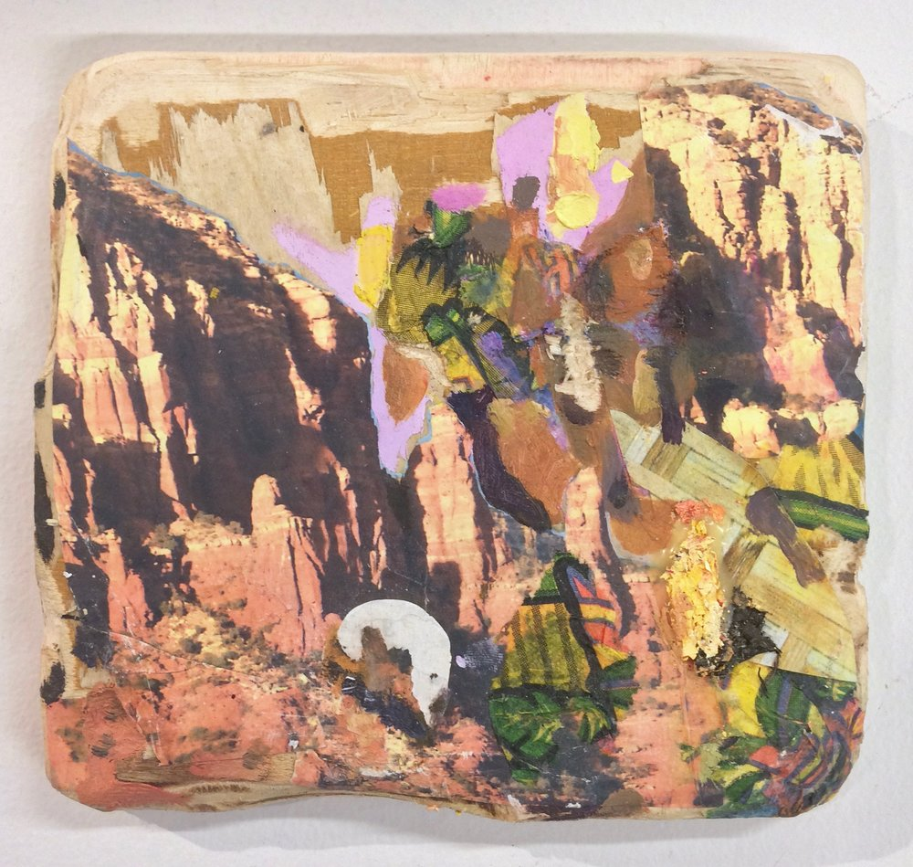 Canyon , 2016, oil, nature calendars and party napkin on carved wood, 5.5 x 6 inches