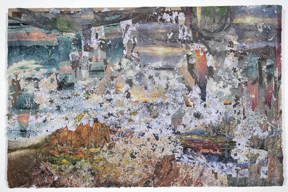 How Do I Raise the Ground Where I Land , 2017, Medical records, Banig print wallpaper, puzzle pieces, nature calendars, Dollar Tree and Subway bag, acrylic and oil on chicken wire and wood, 38 x 60 x 4 inches