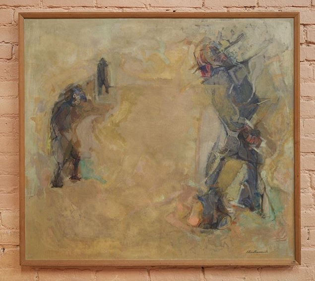 Painting by Shoshannah, the artist's late grandmother   Beachcombers , c. 1956 Oil on linen 37 x 41 inches
