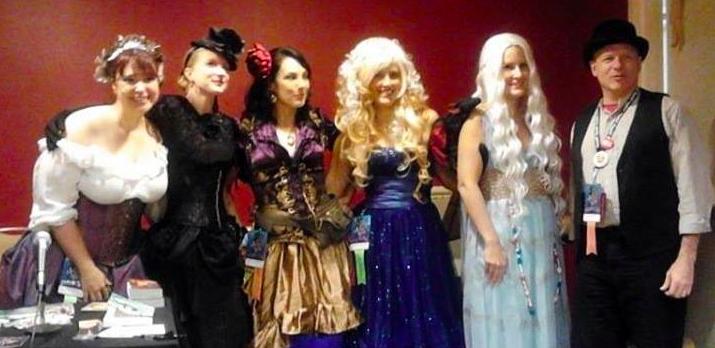 At Princess Alethea's Traveling Sideshow with Alethea Kontis, Leanna Renee Hieber, me, Diana Peterfreund, Mari Mancusi, and Gray Rinehart. Dragoncon 2013.