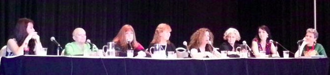Women of Vampire Fiction at Dragoncon. Sherrilyn Kenyon, Chelsea Quinn Yarbro, Karen Taylor, Jeanne C. Stein, Laurell K. Hamilton, Faith Hunter, me, and Track Director and Moderator extraordinaire Carol Malcolm. Photo by Jennifer Morris of the Coastal Magic Convention. Would you trust these dangerous women?