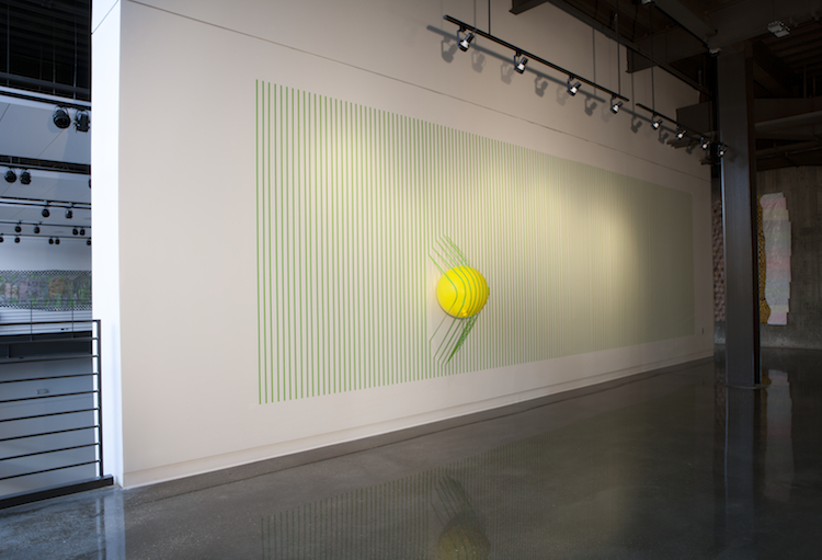 "Failing Structure   2012  artist tape and balloon  120"" x 360"" x 20"""