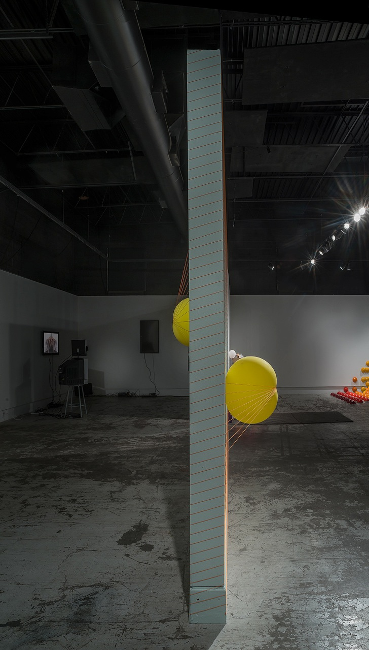 "Progressive Collapse   2013  mason line, balloons, drywall, nails  144"" x 120"" x 40"""