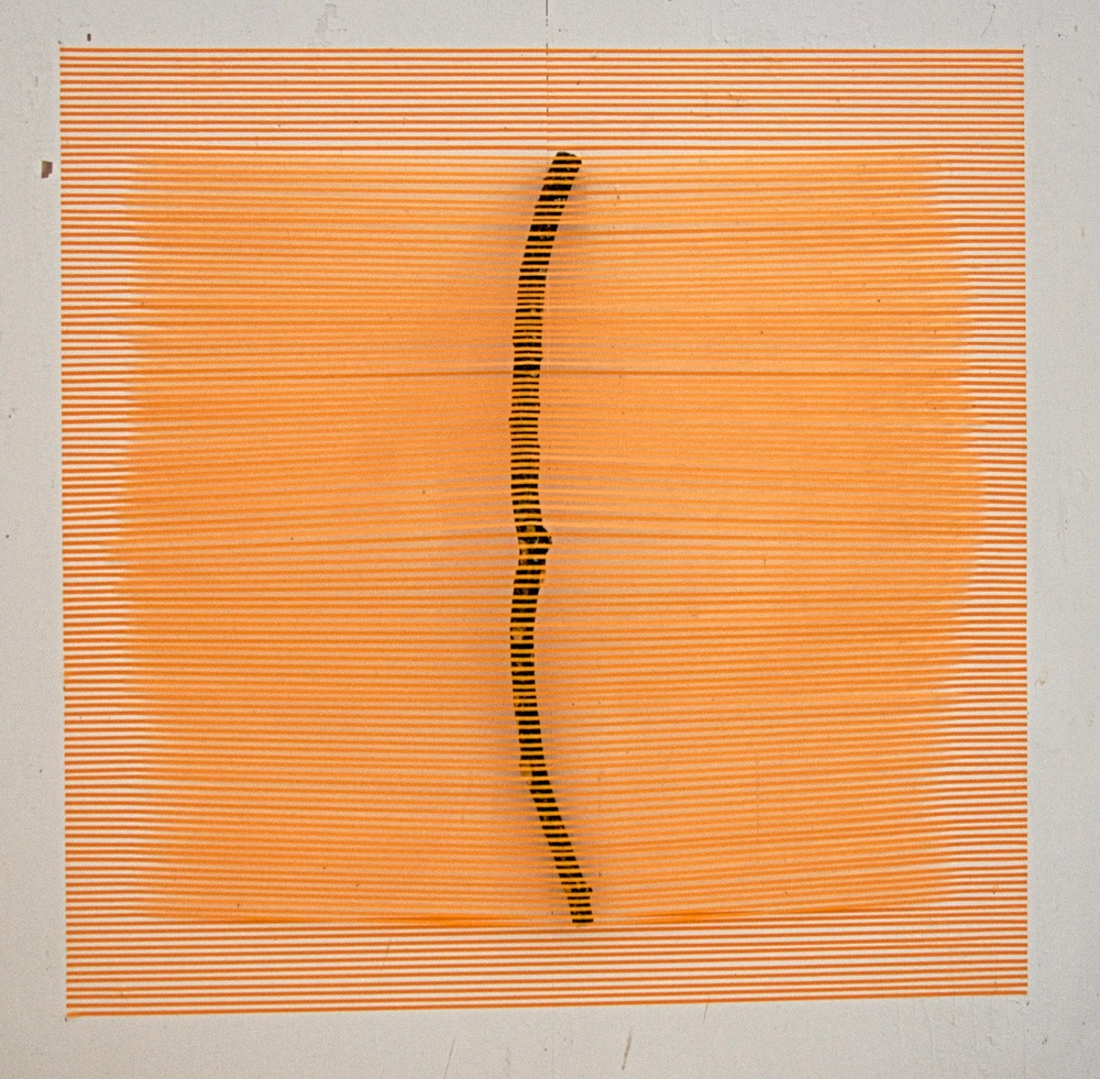 "Orange Stick   2015  paper tape and stick  60"" x 60"""