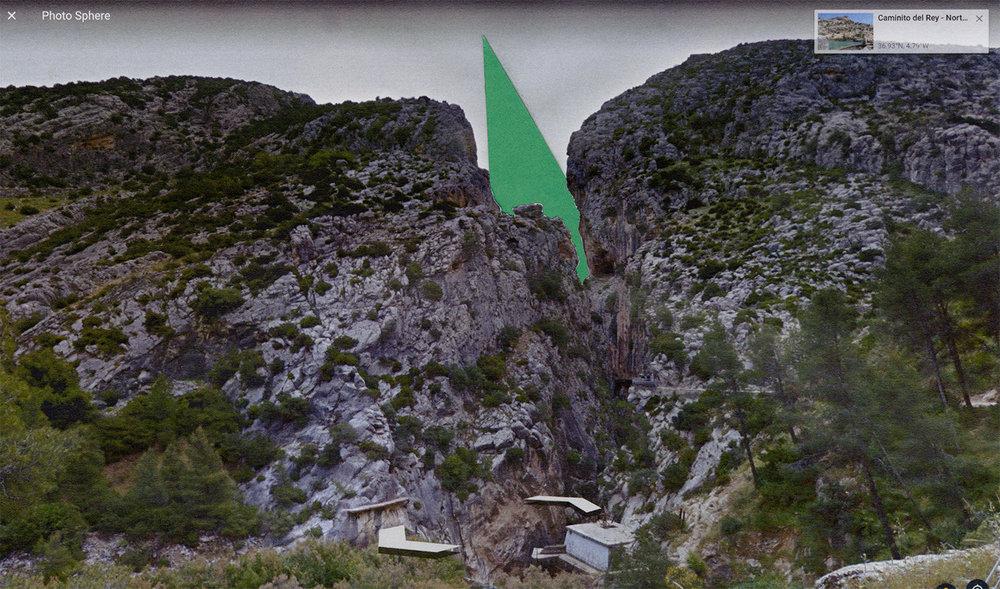 """Site Proposals: Caminito del Rey   2017  archival inkjet print  13"""" x 24"""""""
