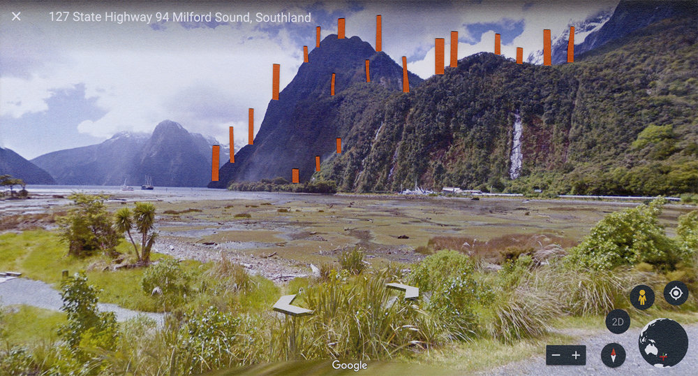 "Site Proposals: Milford Sound   2017  archival inkjet print  13"" x 24"""