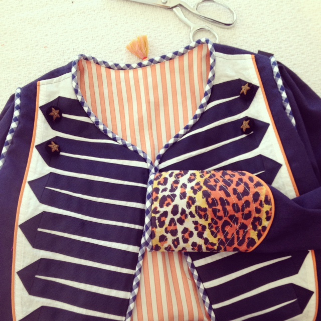 Band Jacket with Leopard Cuff