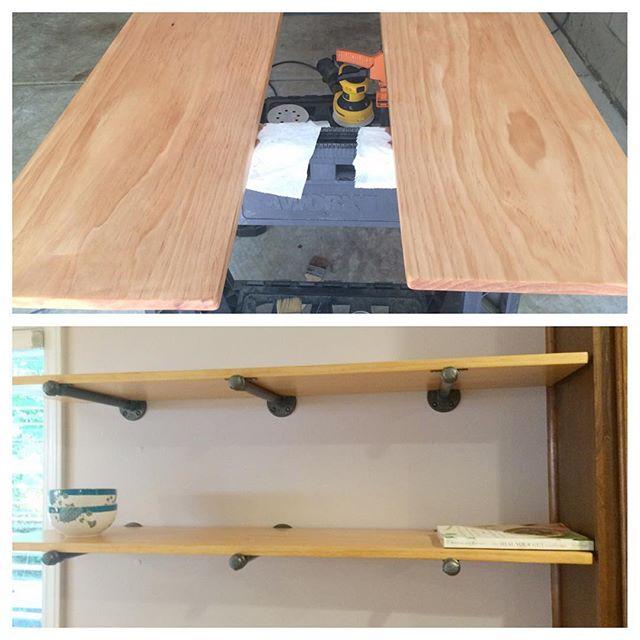 Open shelves - can't wait to decorate #openshelves #openshelvesstyling #diy #woodworking #pipehardware #design #interiordecor
