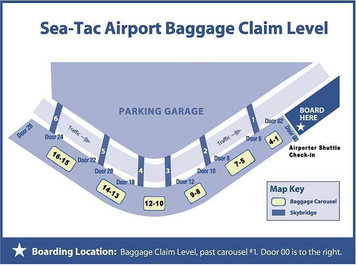 Seatac airport arrival pickup information 5 star for Door 00 seatac airport