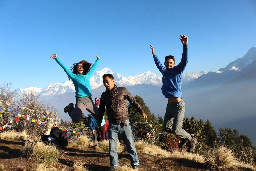 Fun times after watching the sunrise over the Himalayas