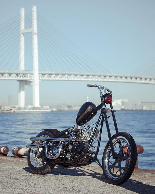 @thecutrate bike in port Yokohama #hrcs15 #mooneyesjapan