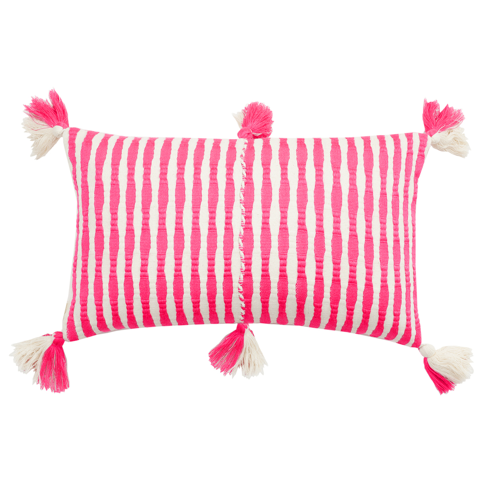 antigua striped tassel pillow in neon pink white by archive ny handwoven artisan