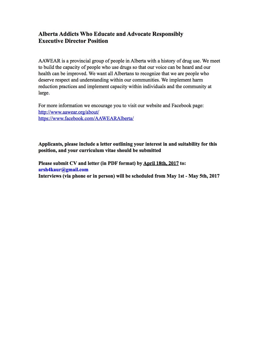 Executive Director Job Posting U2014 AAWEAR