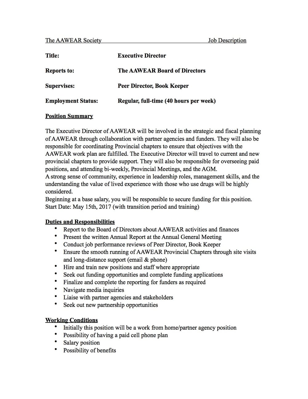 Executive Director Job Posting AAWEAR – Executive Director Job Description