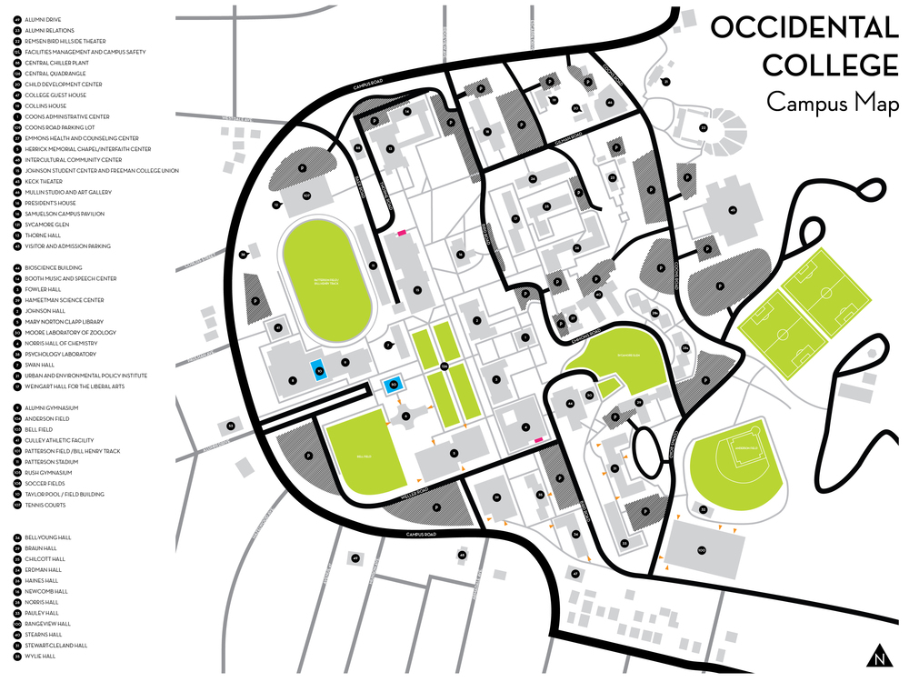 Occidental College Facilities Map Greer Freshwater Burton