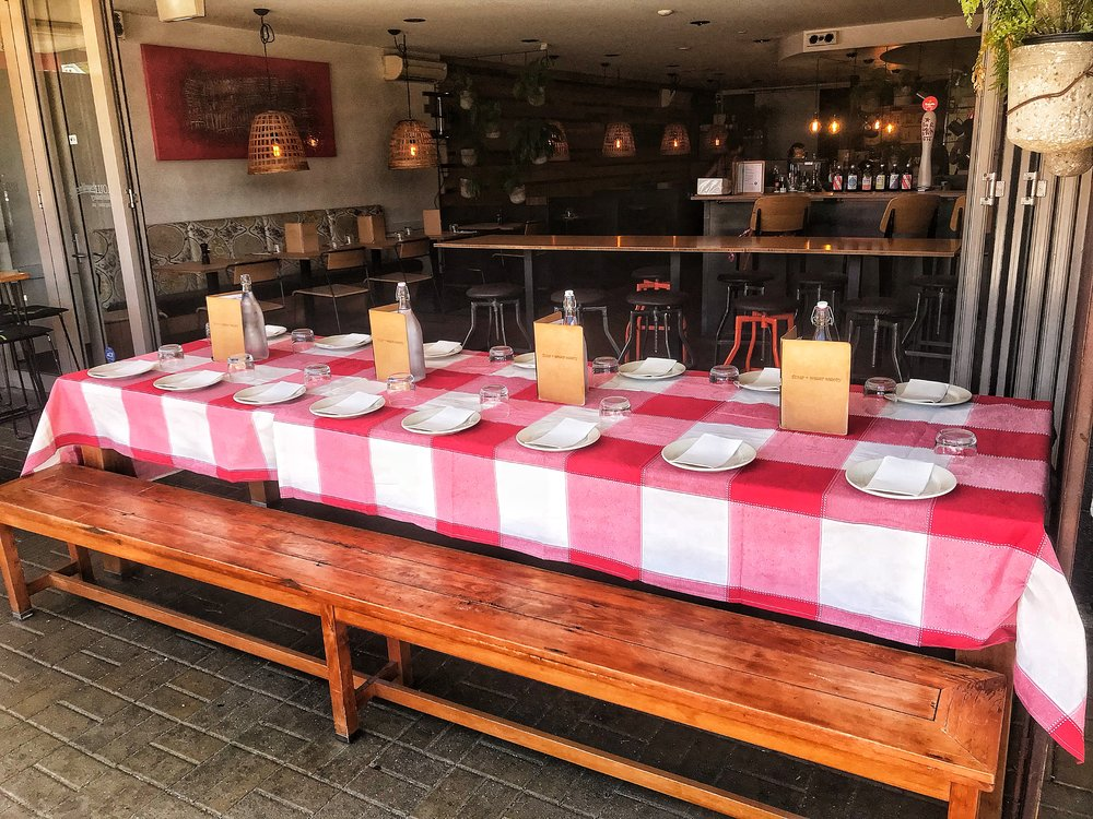 Our legendary outside table. Great for Christmas parties   -