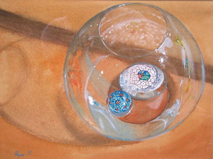 "Glass Paperweights in water inside a glass bowl, 9"" x 12"" watercolors"