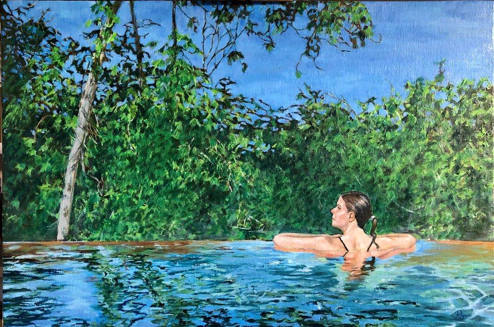 "Pura Vida, 36"" x 18"" oil on canvas covered panel"