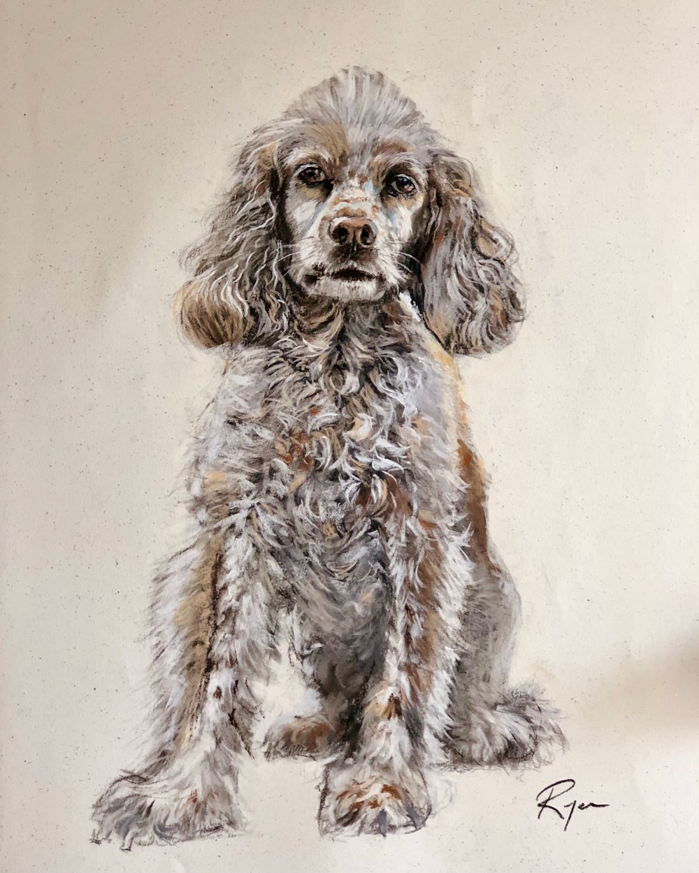 "Bella, 39"" x 25"", charcoal and dry pastels on paper"