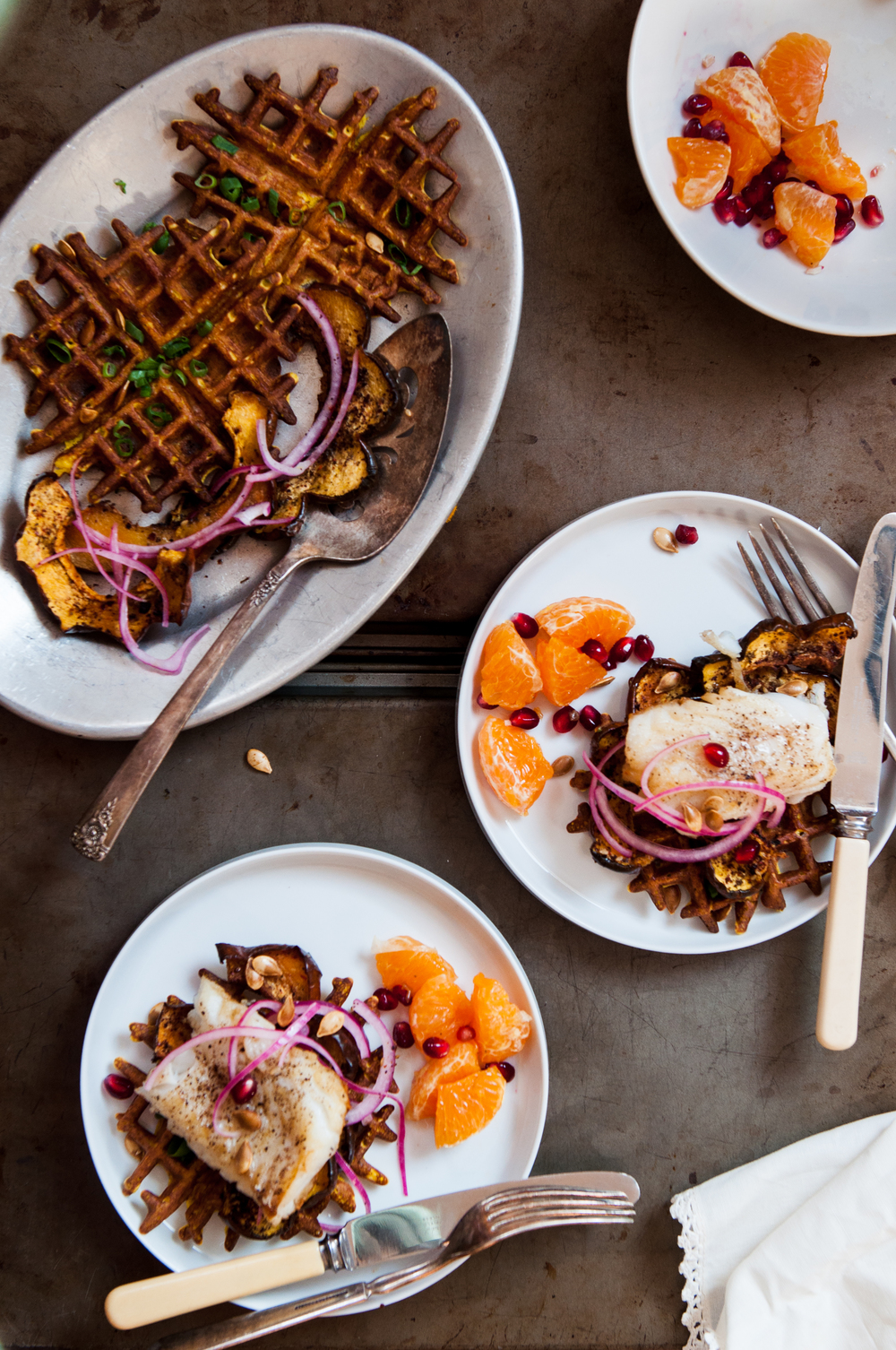 TURMERIC TOASTED CHICKPEA AND ACORN SQUASH WAFFLES