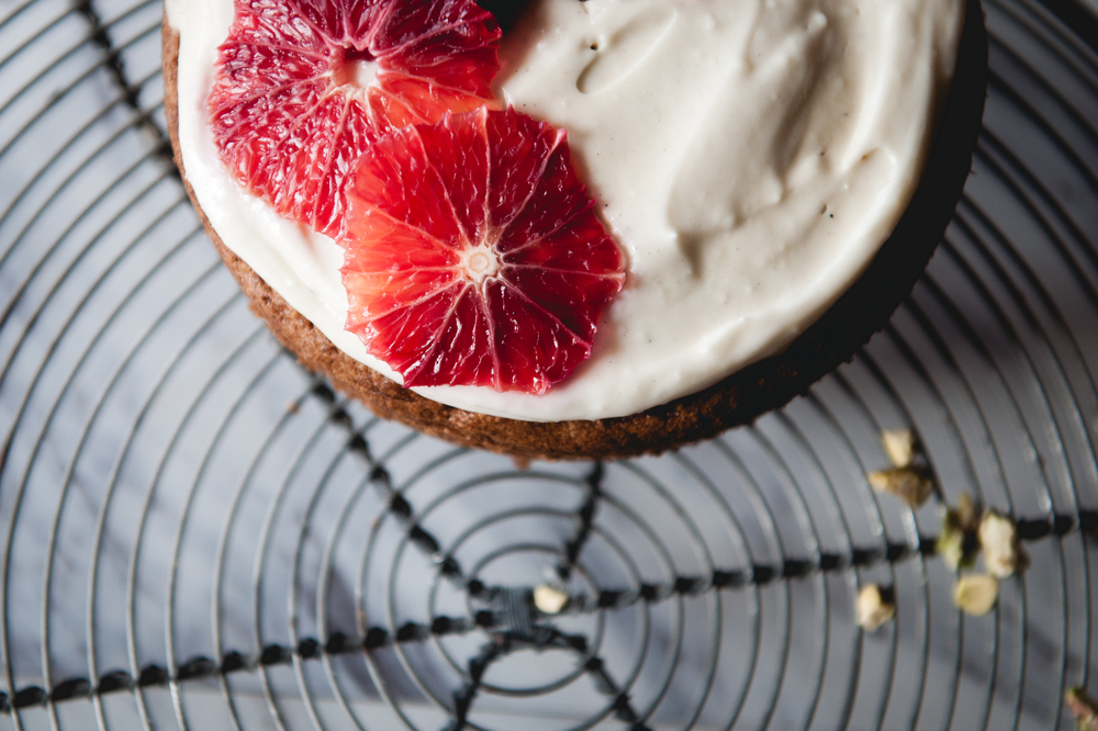 Gluten free carrot cake with blood orange frosting