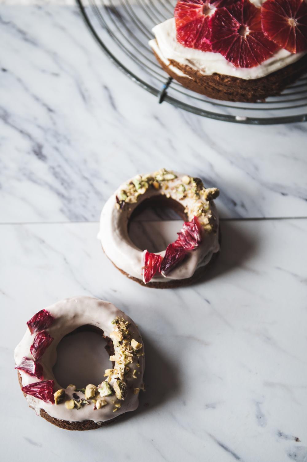 GLUTEN FREE CARROT CAKE DONUTS + BLOOD ORANGE FROSTING