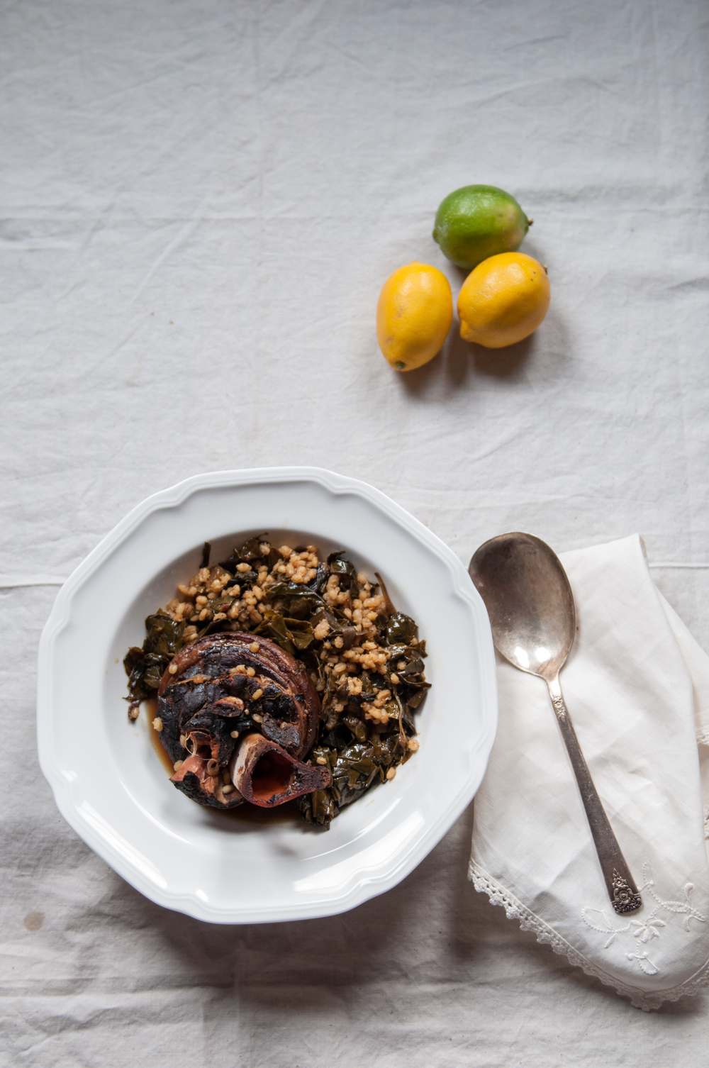 You can serve this slow cooked dish either as a risotto, shown here, or simply as a cured greens over grits or mash. Either way, the collards shine through with splendid warmth