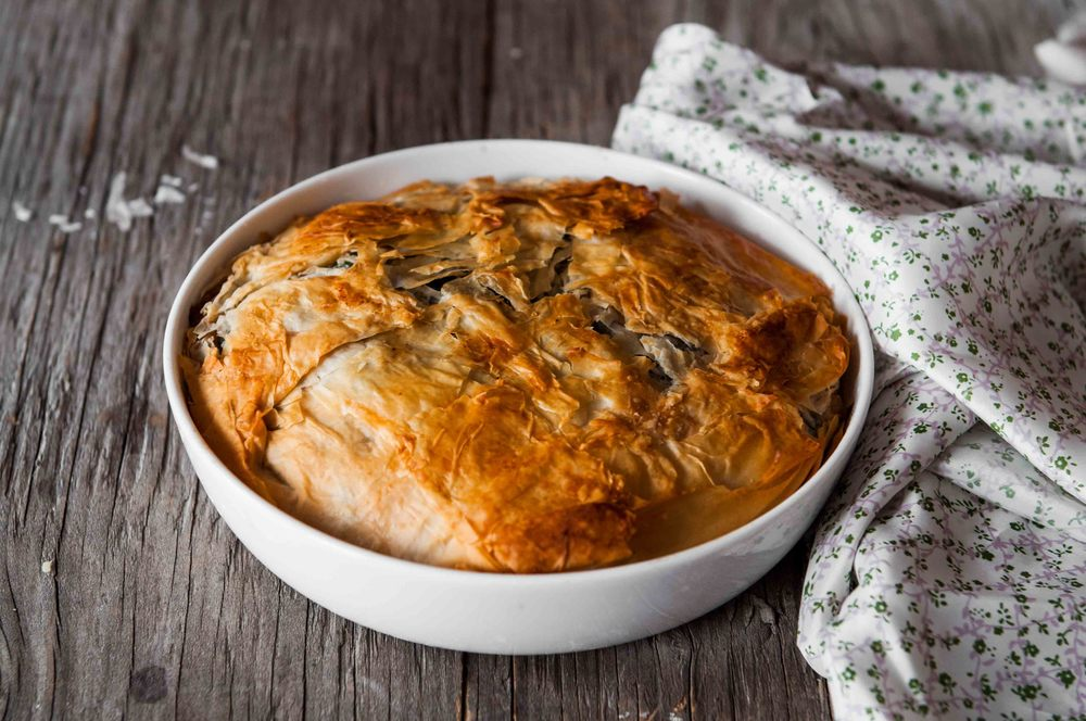 PUMPKIN AND MUSTARD GREENS PIE