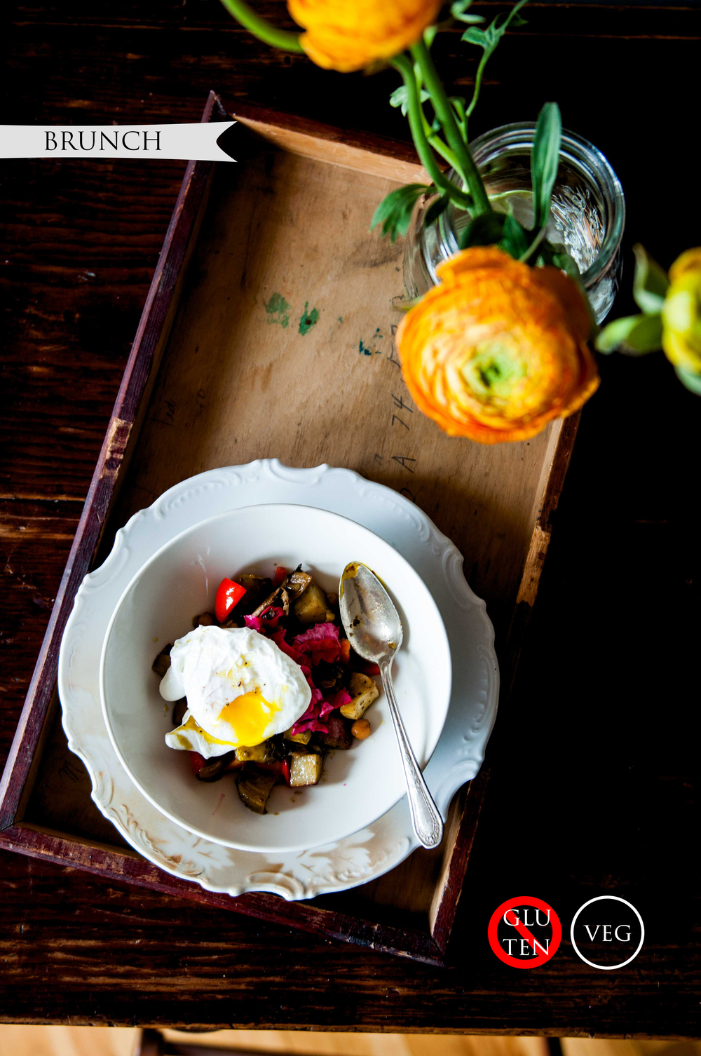 ROAST VEGETABLE HASH + CREAMED CHATERELLE RYE TOAST