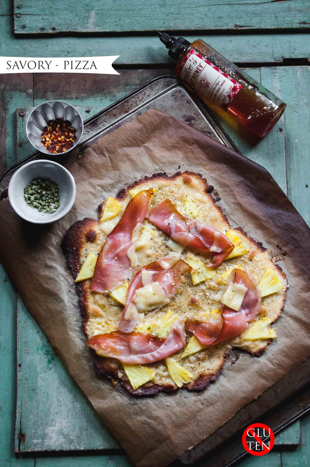 GLUTEN FREE PIZZA, HAM + PINEAPPLE