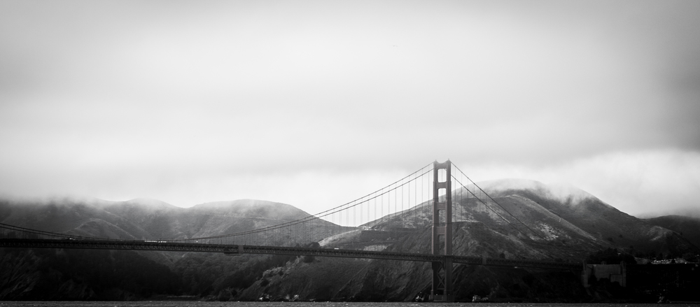 San Fransico's Golden gate bridge is picturesque even without the trademark Red!