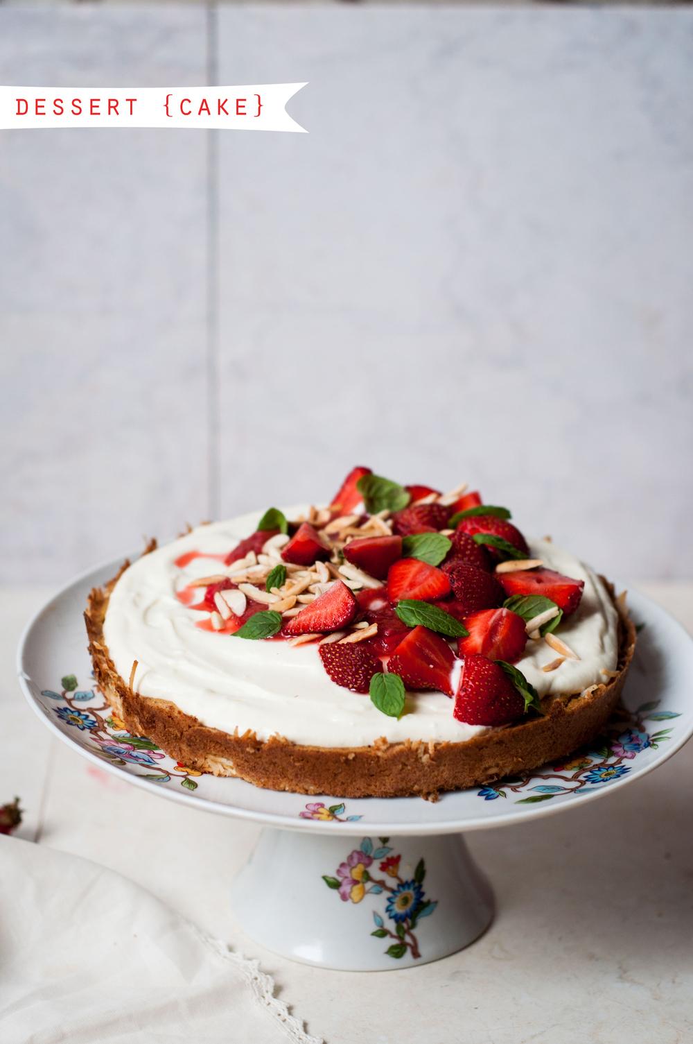 RHUBARB STRAWBERRY CAKE WITH OAT-ALMOND-COCONUT SPONGE