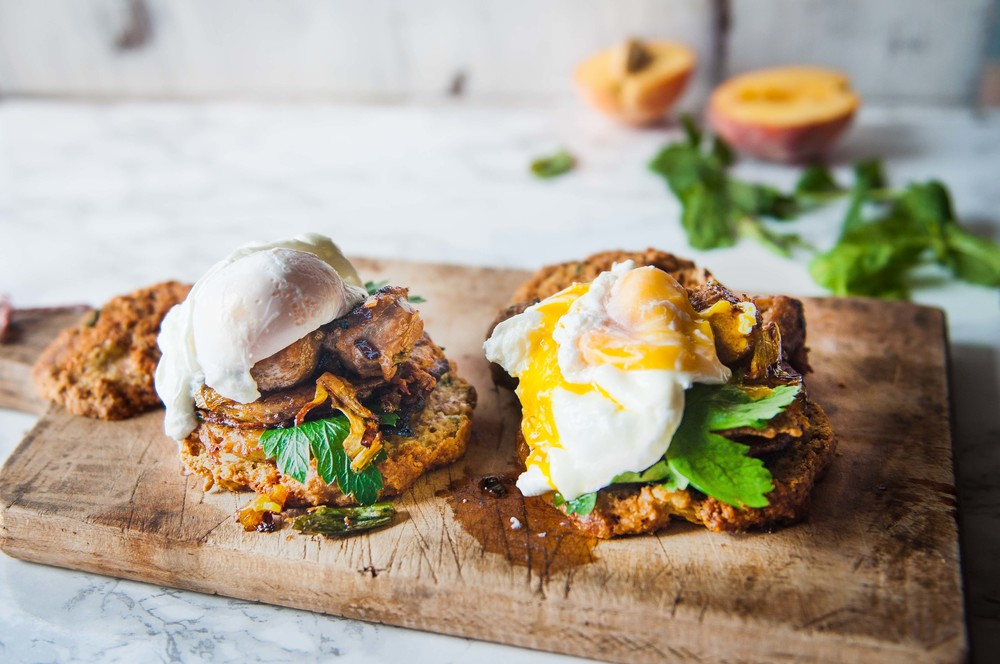 Peach and Mint Einkorn Scone base, chorizo hash, fried green tomato topped with a soft poached egg.