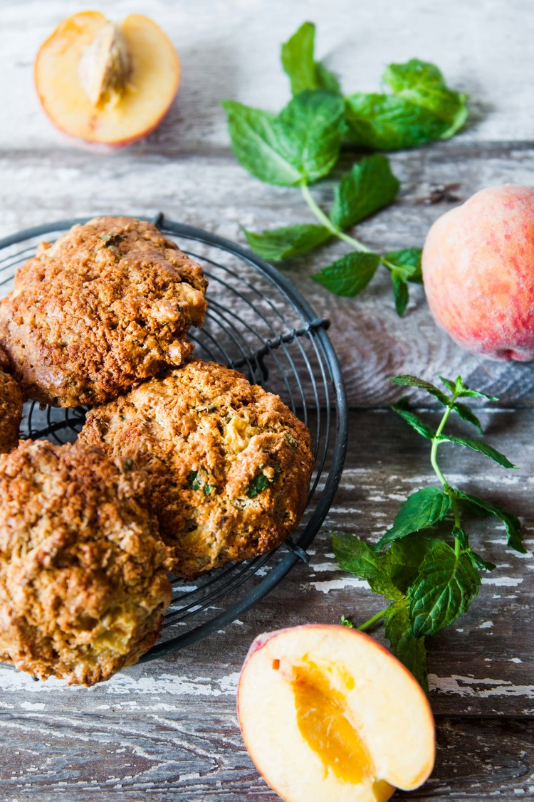 PEACH AND MINT EINKORN SCONES