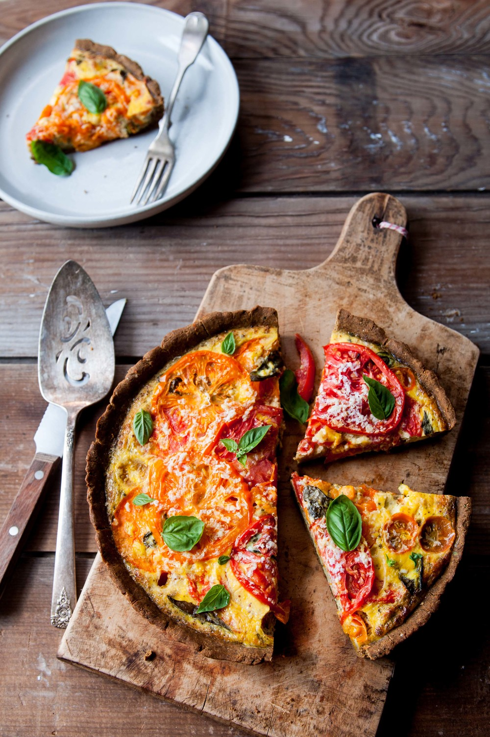 TOMATO TART WITH MILLET AND MUNG FLOUR CRUST