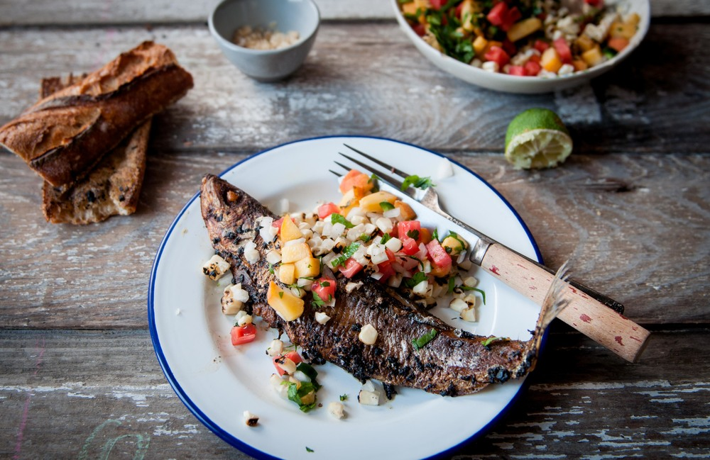 FRIED SARDINE + PEACH & CORN SALSA