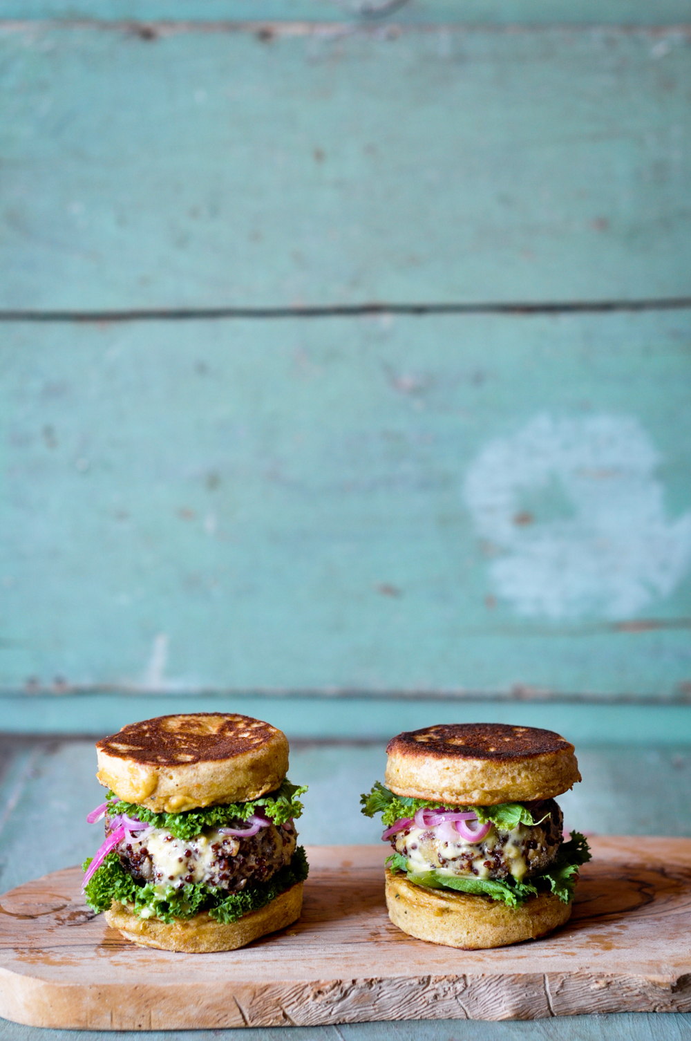 Quinoa Burgers sandwiched in Chickpea Buns