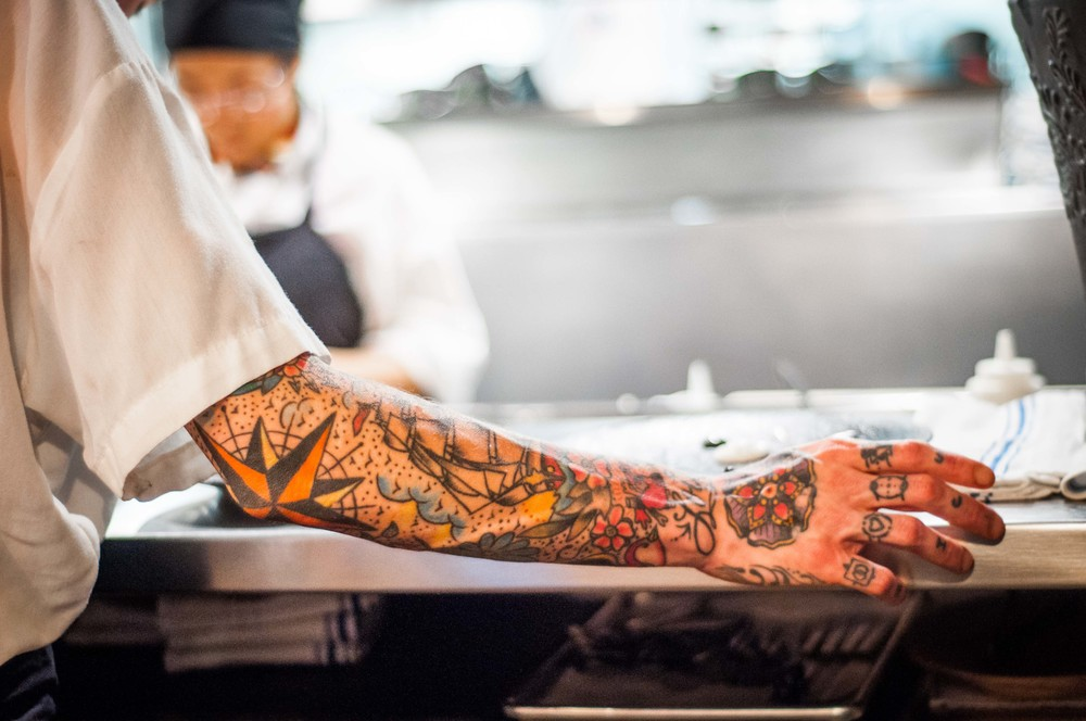 I have a thing for full arm tattoo art! Why do so many chefs have them?