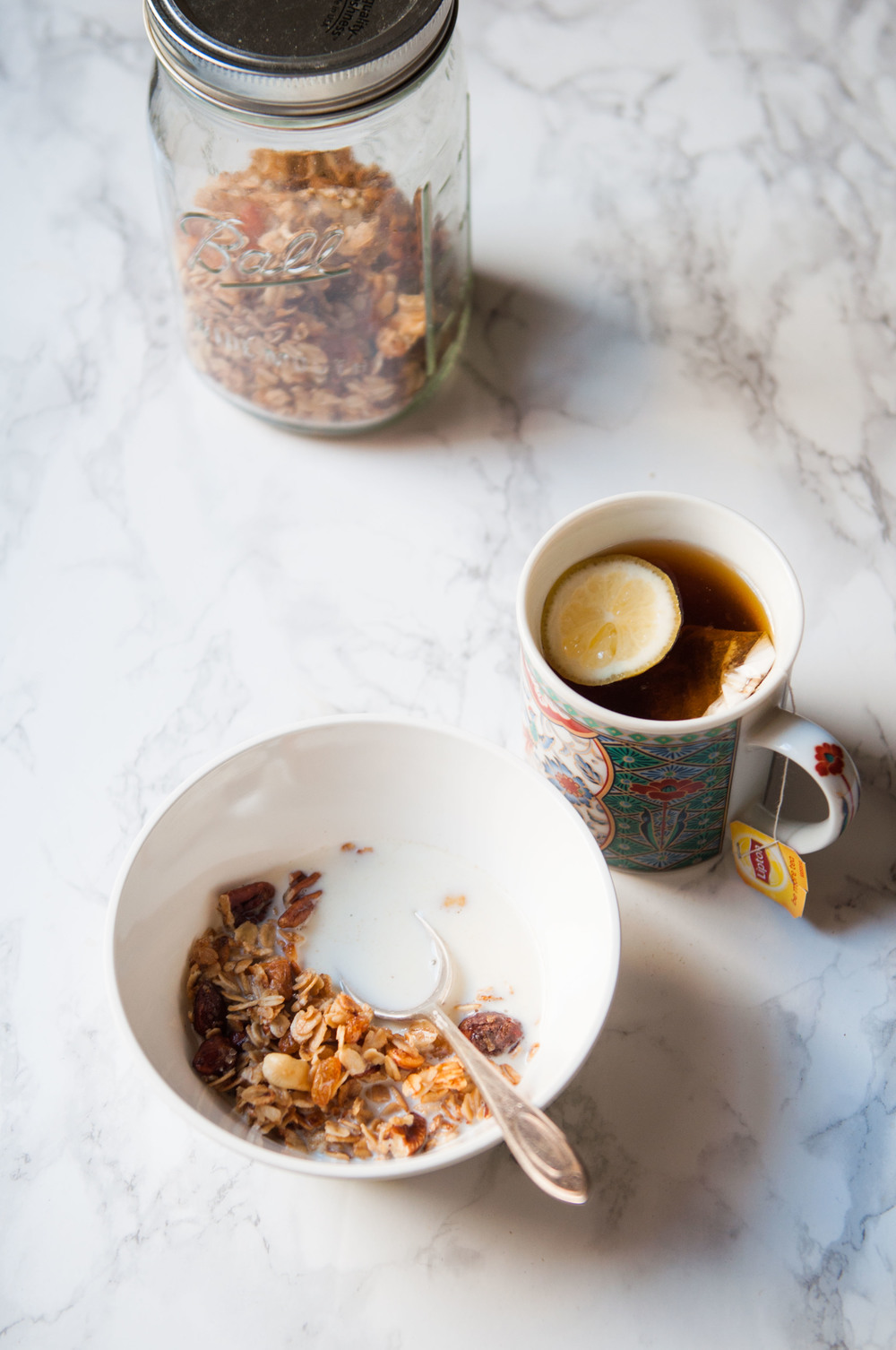 morning rituals - homemade granola and milk with tea