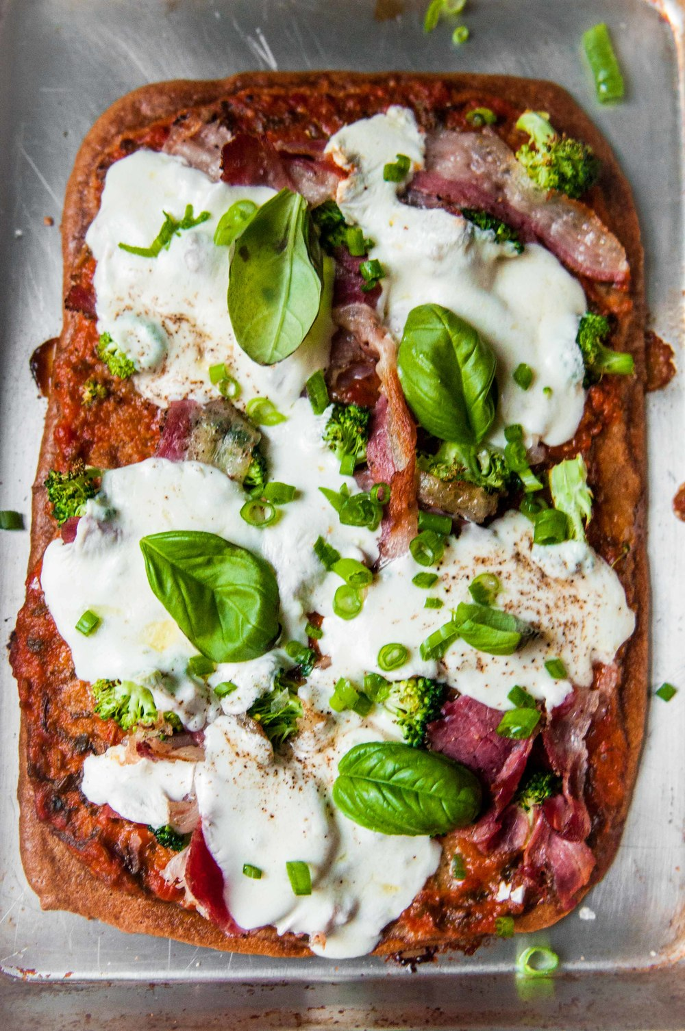 QUINOA PIZZA WITH pastrami and marinara