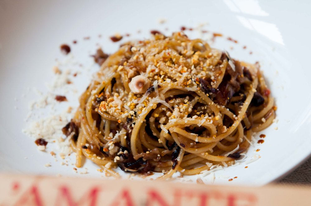 Braised Radicchio spaghetti with balsamic vinegar