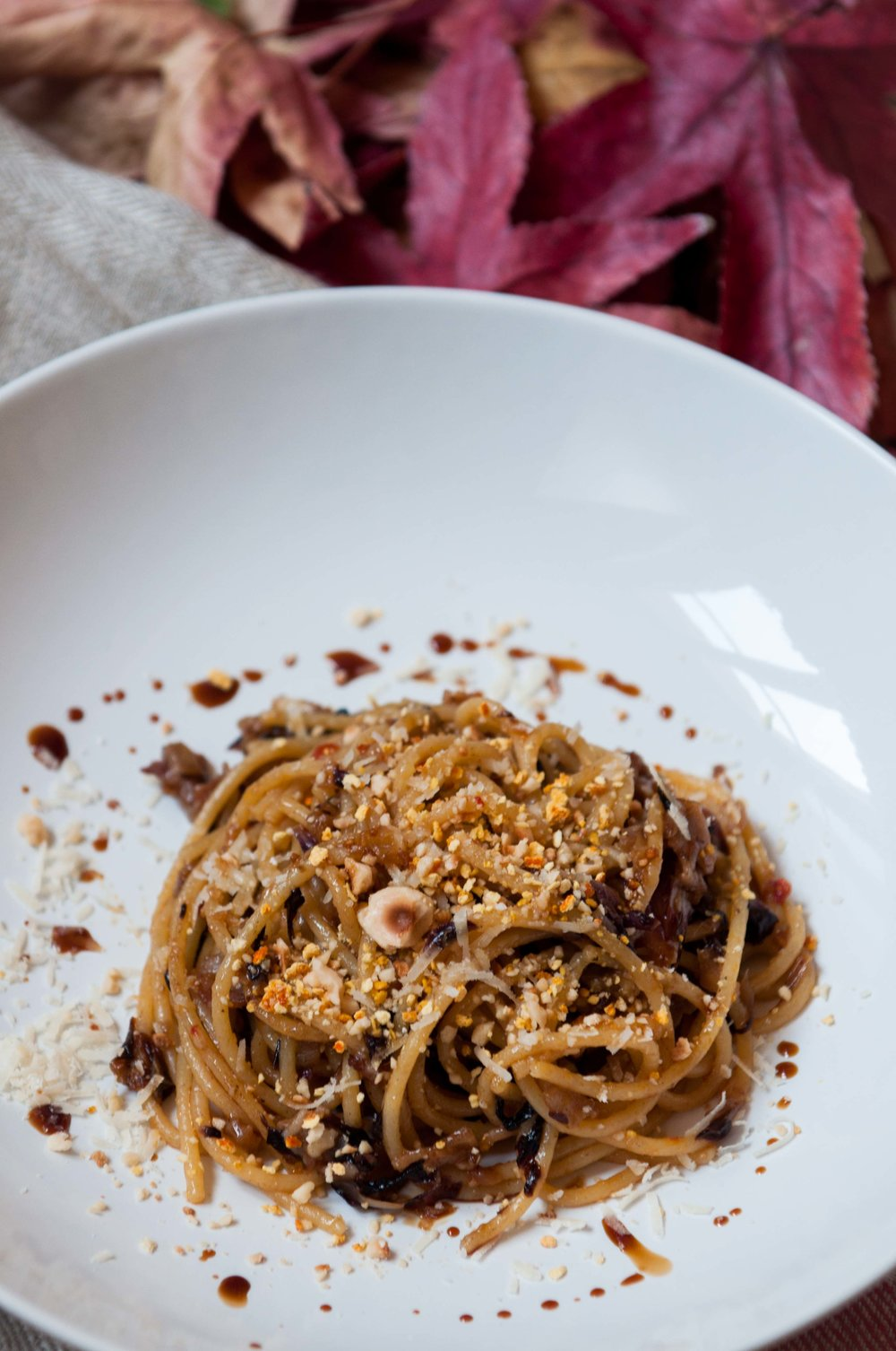 Braised Radicchio spaghetti + balsamic vinegar