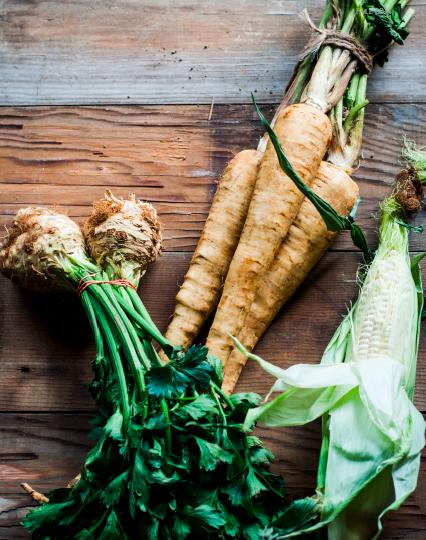 Ingredients - Celeriac root, parsley root and corn