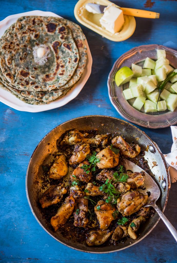 Pepper Chicken Fry + Spinach Paratha -