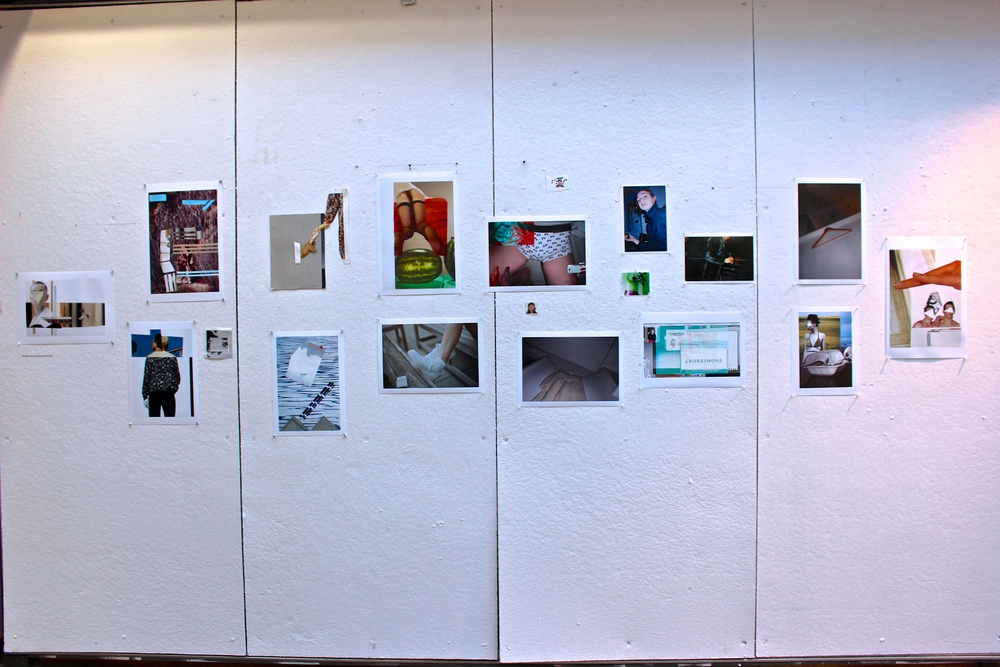 A display of photographs - including fragmented pictures arranged into collages - by Melkorka Tómasdóttir '17