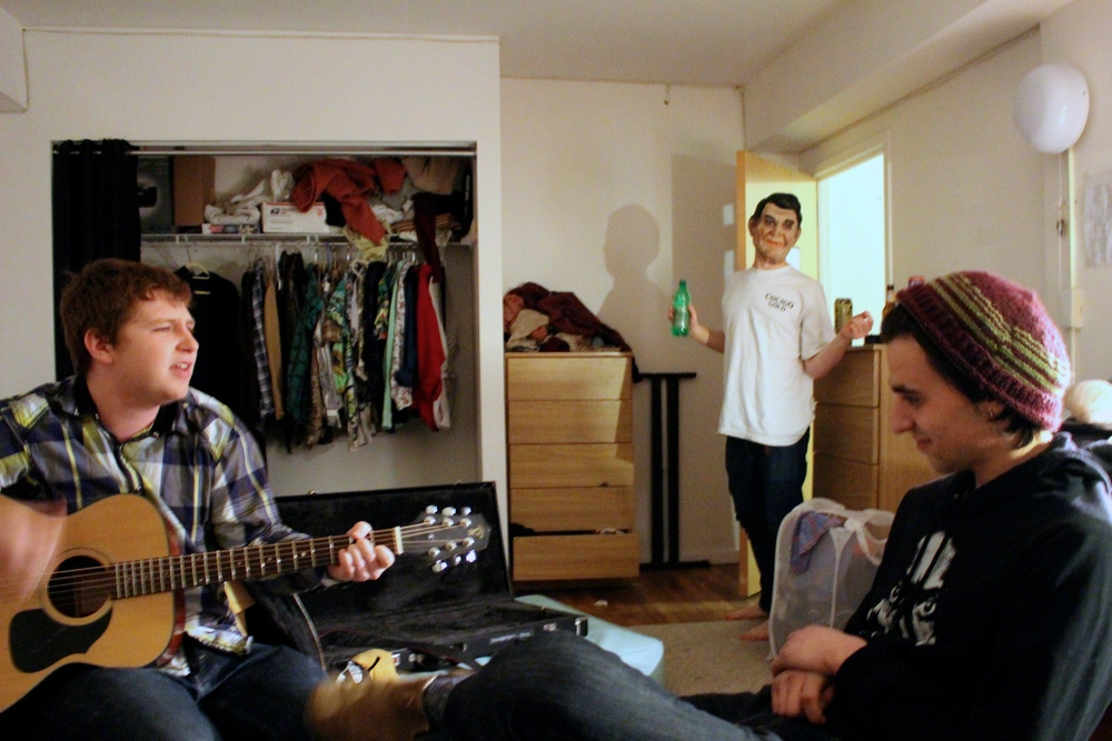 First year students Alex West, Vasaris Balzekas, and Tom Batuello relax in their dorm room.