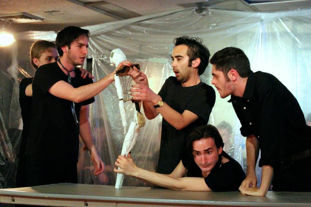 Members of the Men's Naked Shakespeare Troupe perform The Merchant of Venice. The troupe is audition-based and the students are members for all four years of their time at Sarah Lawrence.