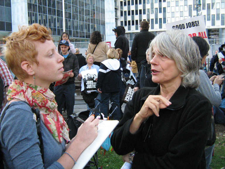 Murolo with Emma McCumber ('11) at Zuccotti Park in Lower Manhattan during the 2011 Occupy Wall Street Protests. Photo by Benjamin Chitty, Murolo's husband