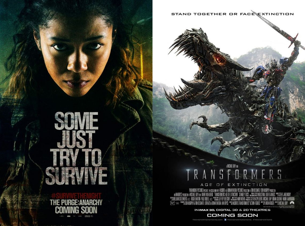 The Purge: Anarchy poster © Universal Pictures, Transformers: Age of Extinction poster © Paramount Pictures